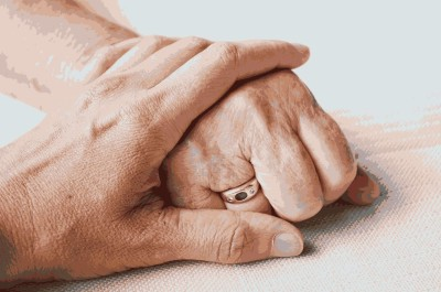 Old and young hand